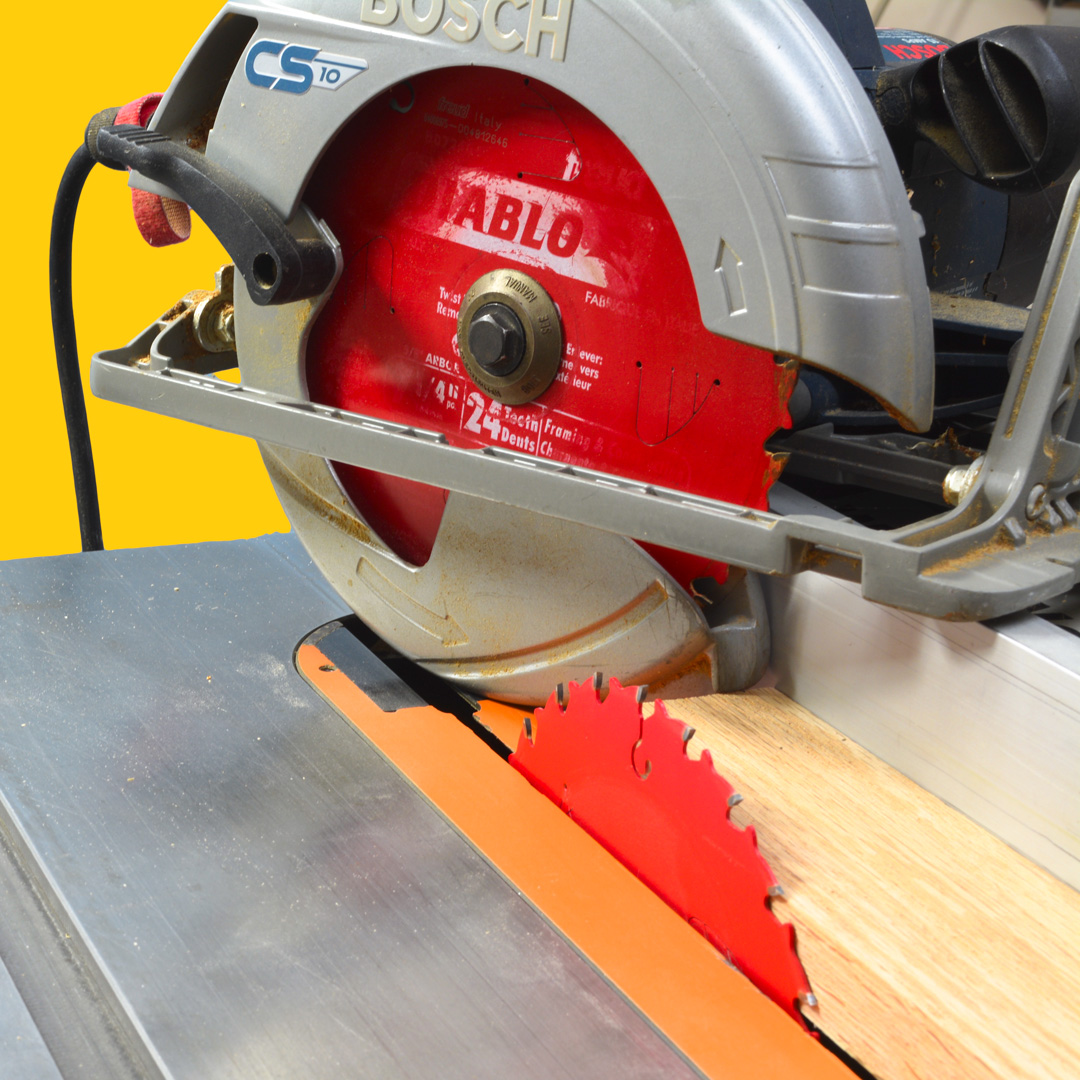 Circular saw blades on a table saw
