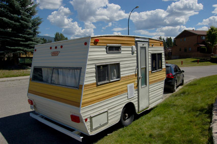 Travel trailer exterior after rebuild